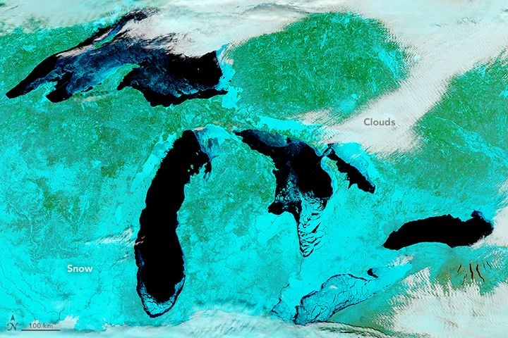 An Icy Lake Erie from Space