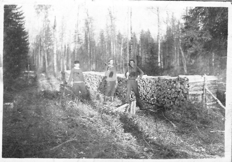 Three lumberjacks in a forest.