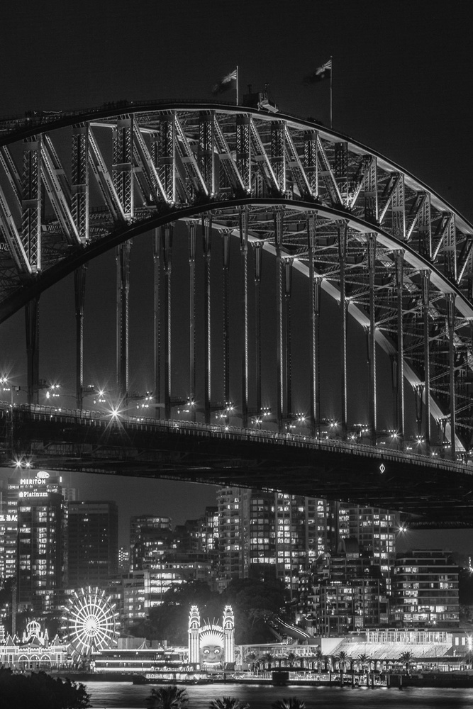 cityscape, night, black and white, architecture, bridge