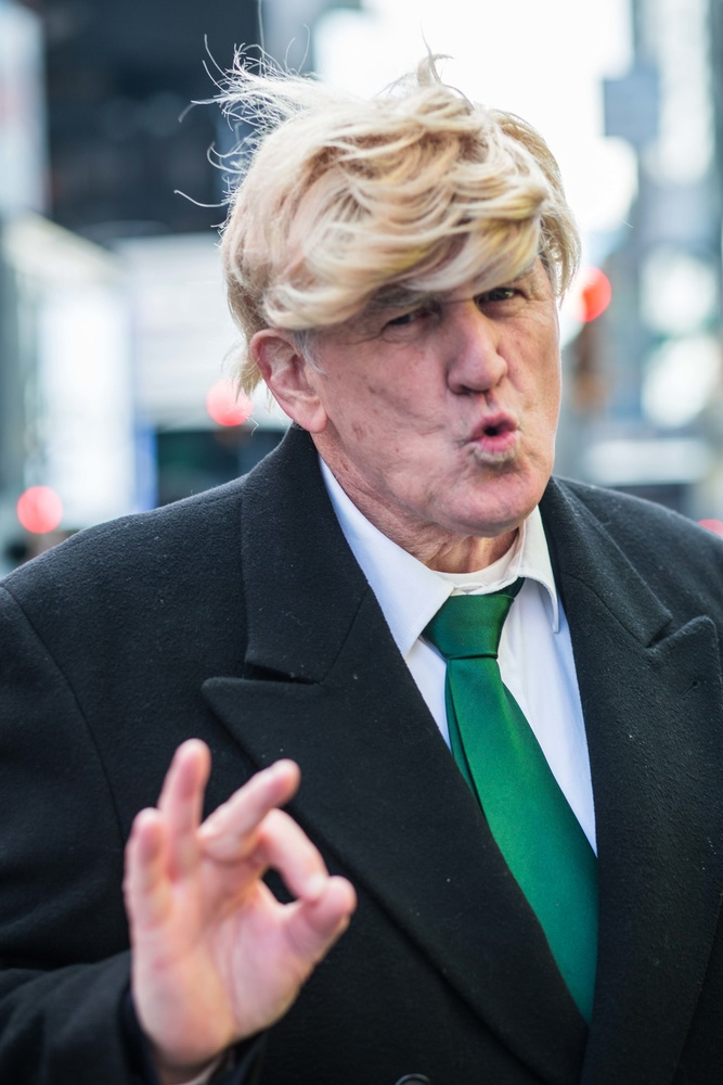A man dressed as Donald Trump