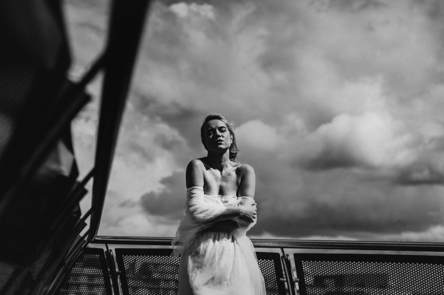 Bride on a rooftop
