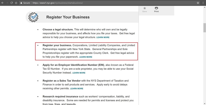 Screenshot of NYC starting a business