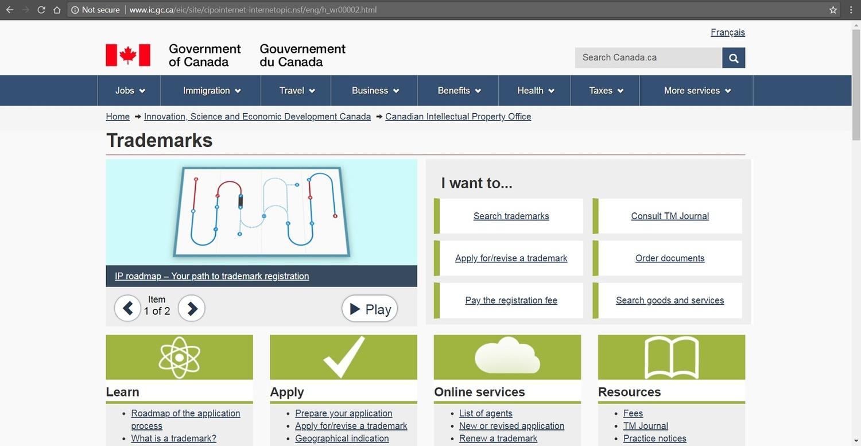 Screenshot of CIPO's website