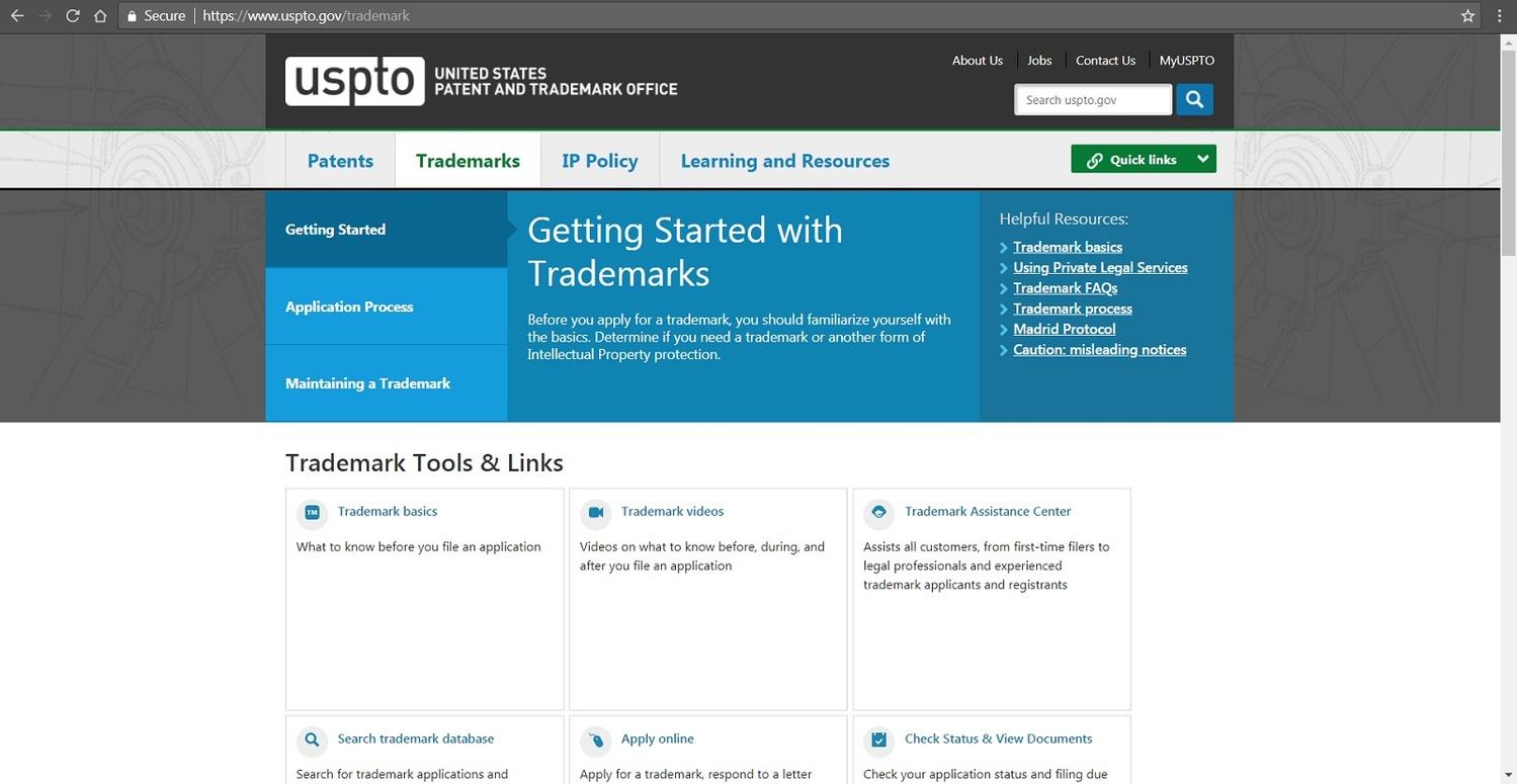 Screenshot of USPTO's website