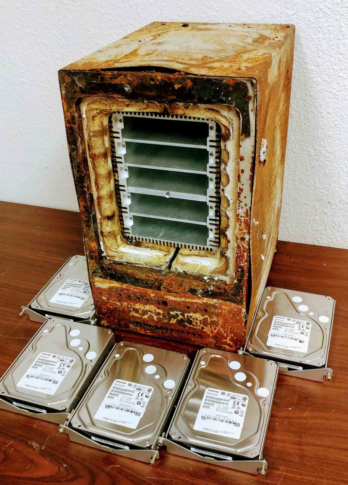 While the outside of this ioSafe 1515 is toast after a fire and soaking of water from firehoses, the hard drives inside were protected. Photo courtesy of ioSafe.