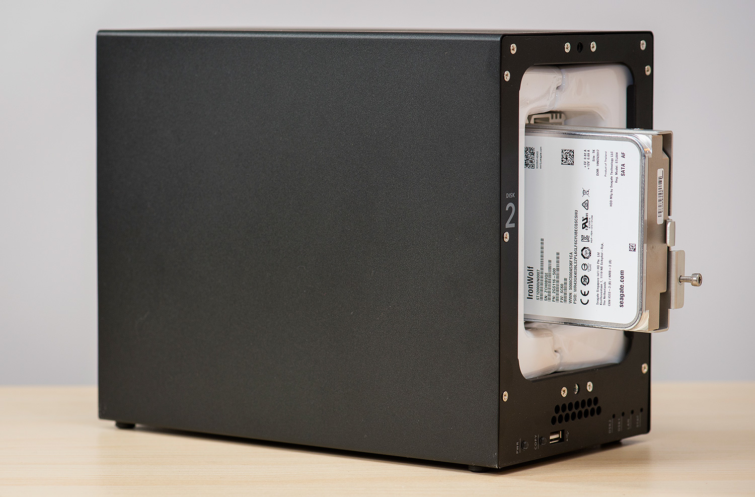 The interior of the ioSafe 218 with one of the Seagate IronWolf drives inside.