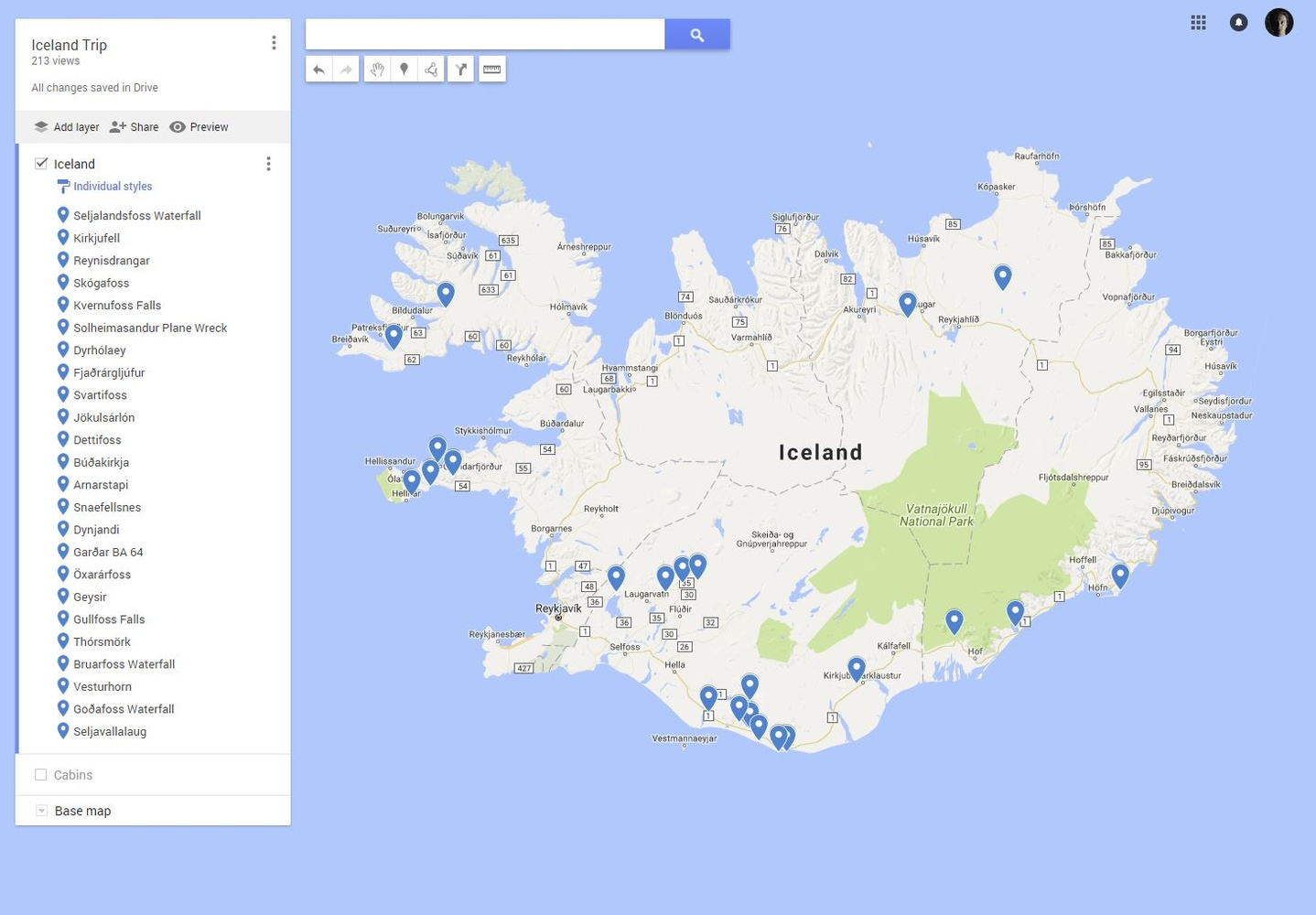 google mymap with locations of interest marked