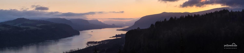 Twilight over Columbia River Gorge, Oregon