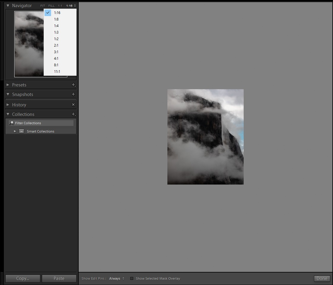 Zooming out of your photo in lightroom