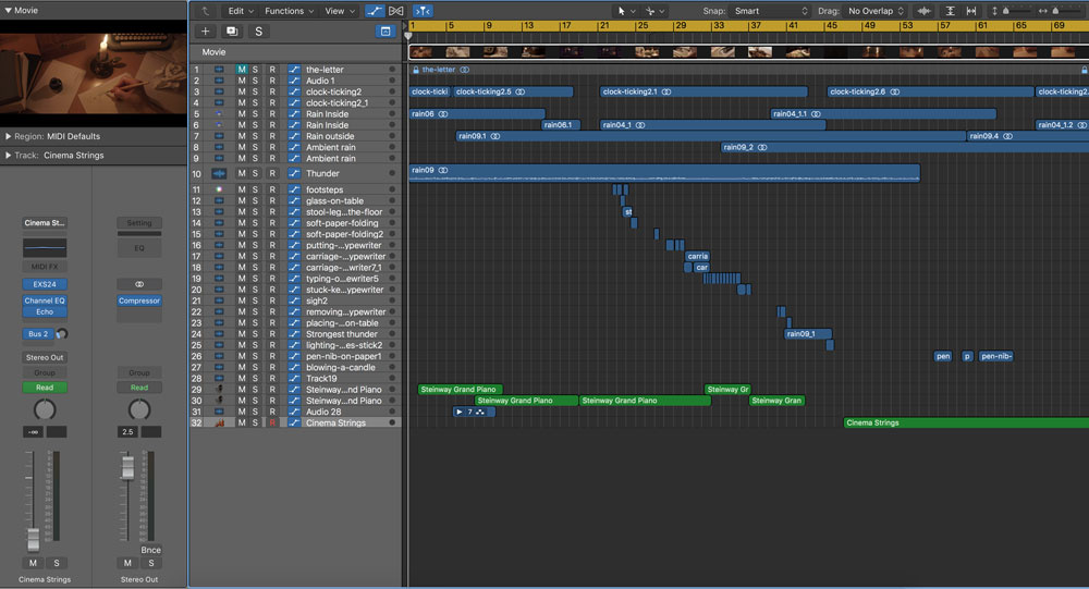 The letter - audio timeline in Logic Pro X