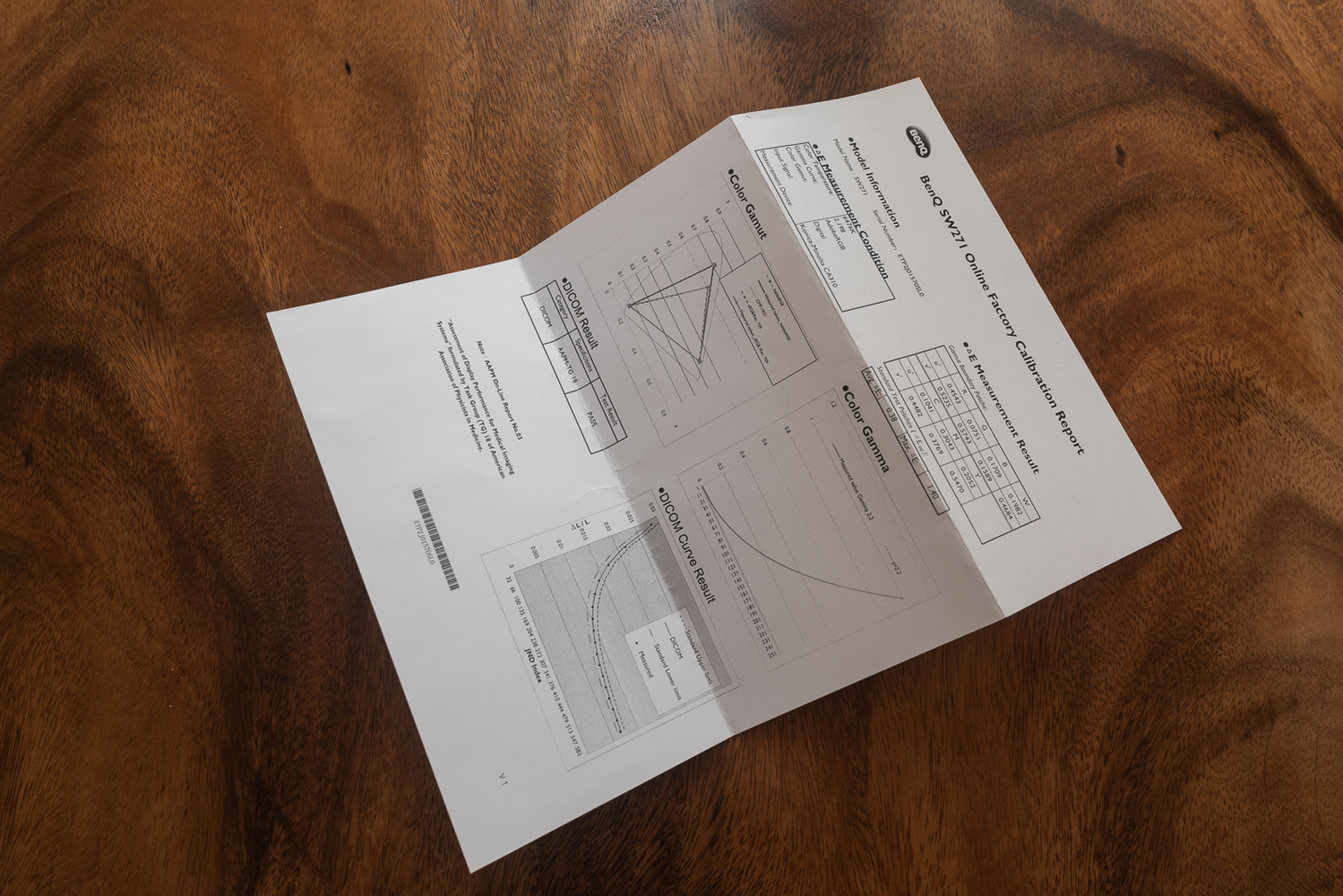 BenQ SW271 monitor calibration report
