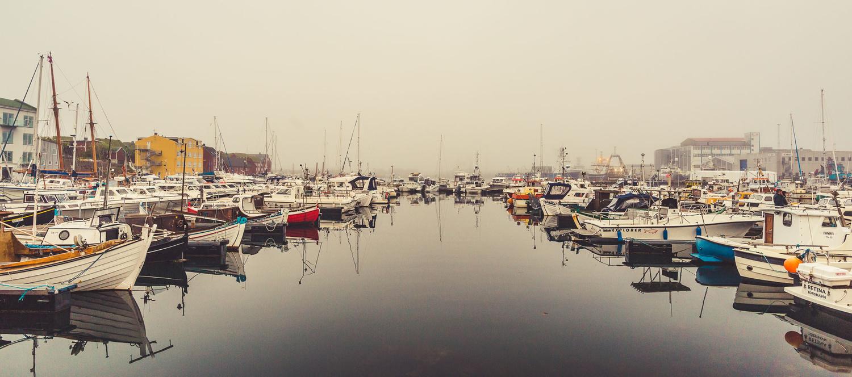 Torshavn Port in thick fog.