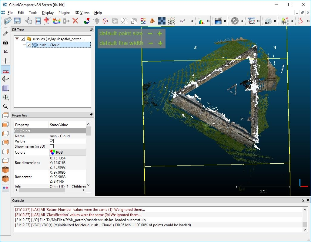 Leveling a pointcloud in CloudCompare