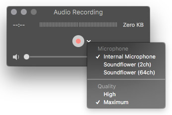 internal microphone select quicktime