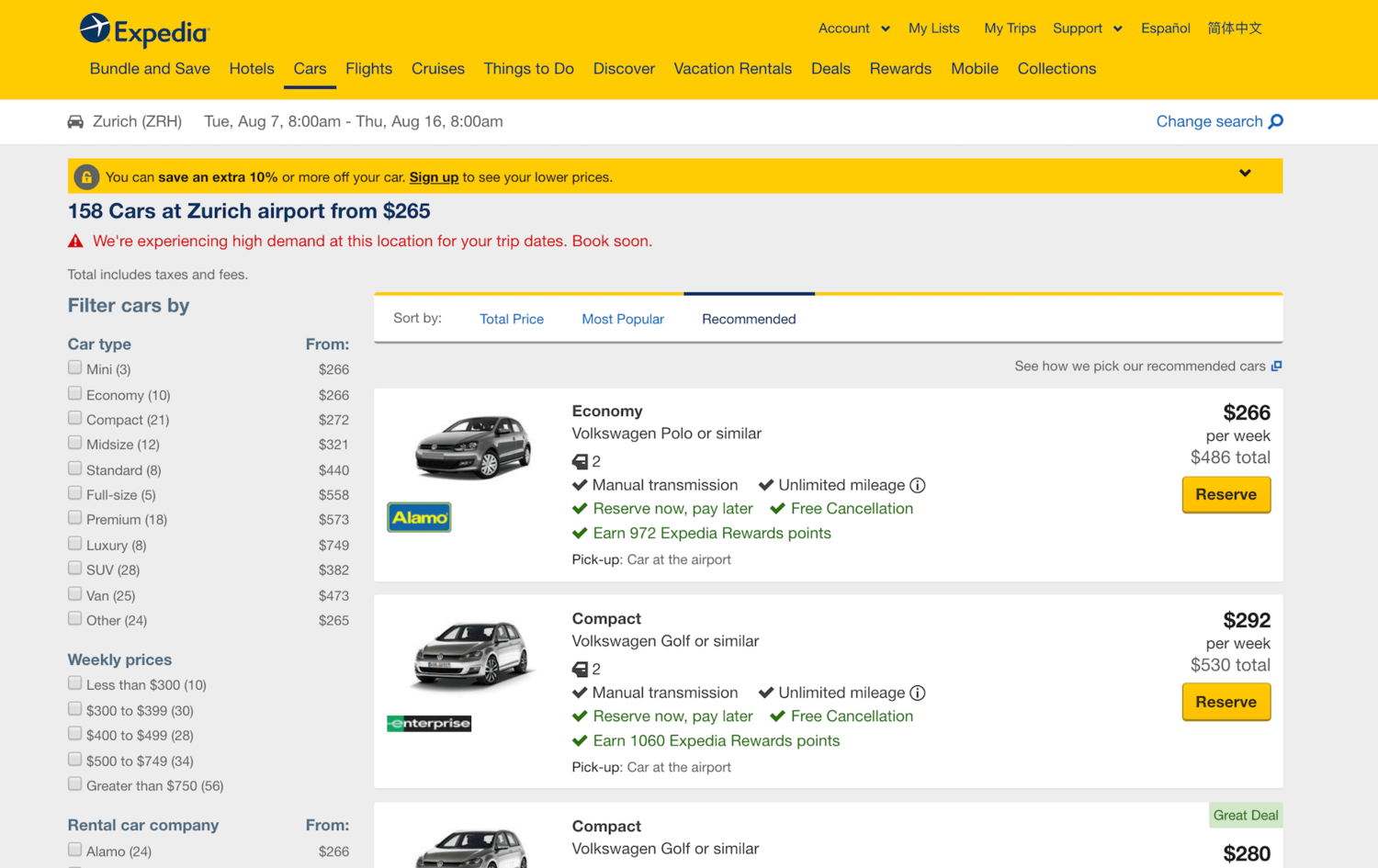 Booking Rental Cars on Expedia