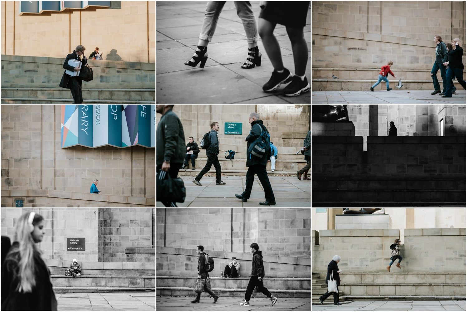A collage of street photographs of people walking in the city.