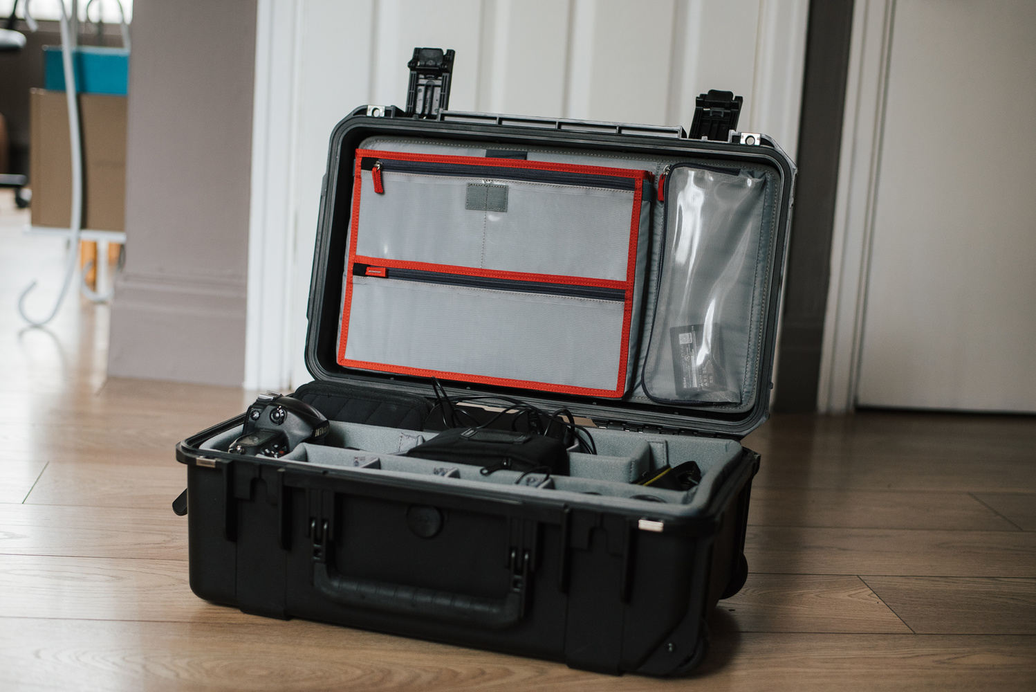 Open travel camera case