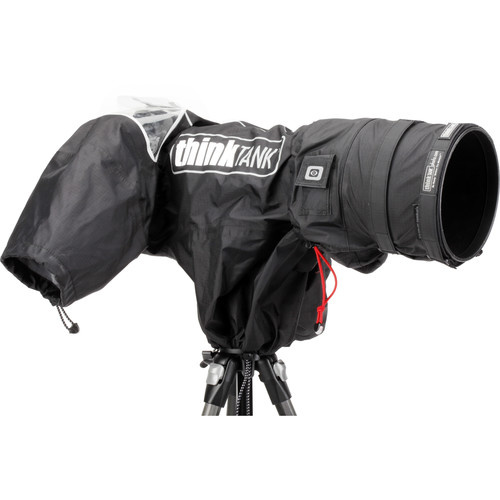 A picture of a Think Tank Rain Cover installed on a camera.