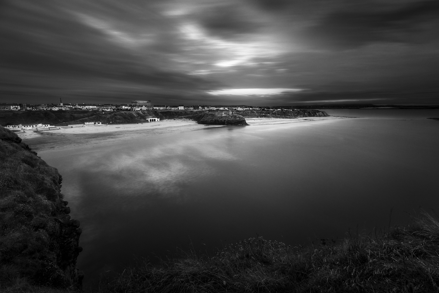 coastal photography in black and white during daylight hours