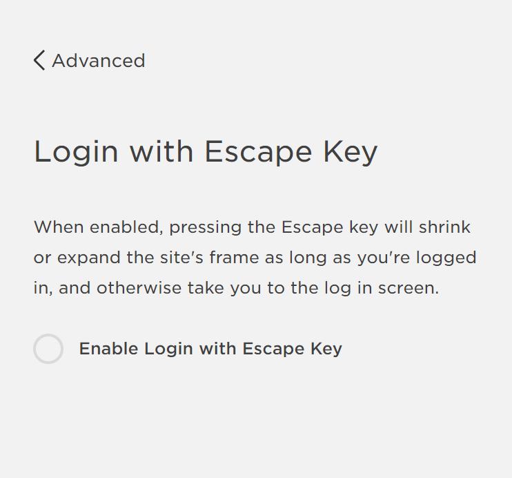 Squarespace Escape Key Login Toggle