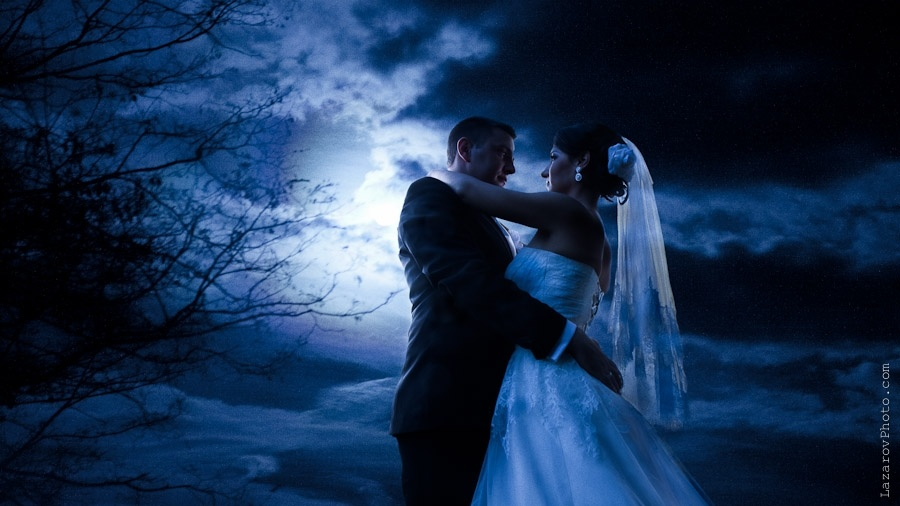 Bride and groom at moon light