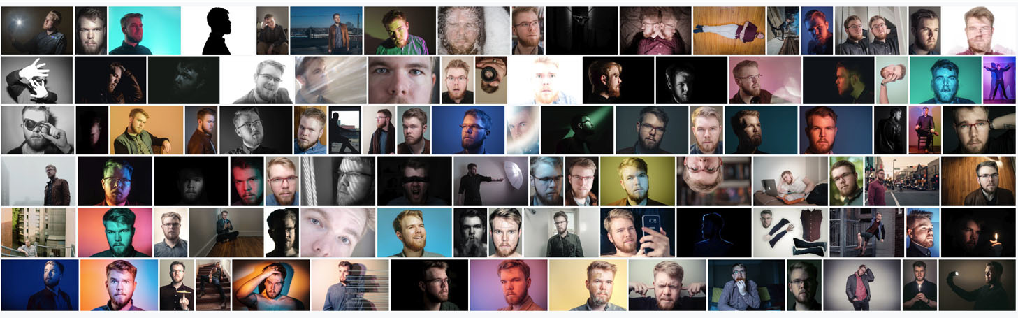 Collage of all 100 portraits in 100 days
