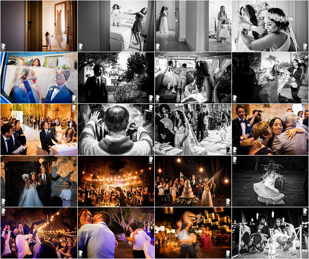 A collage of wedding photographs.