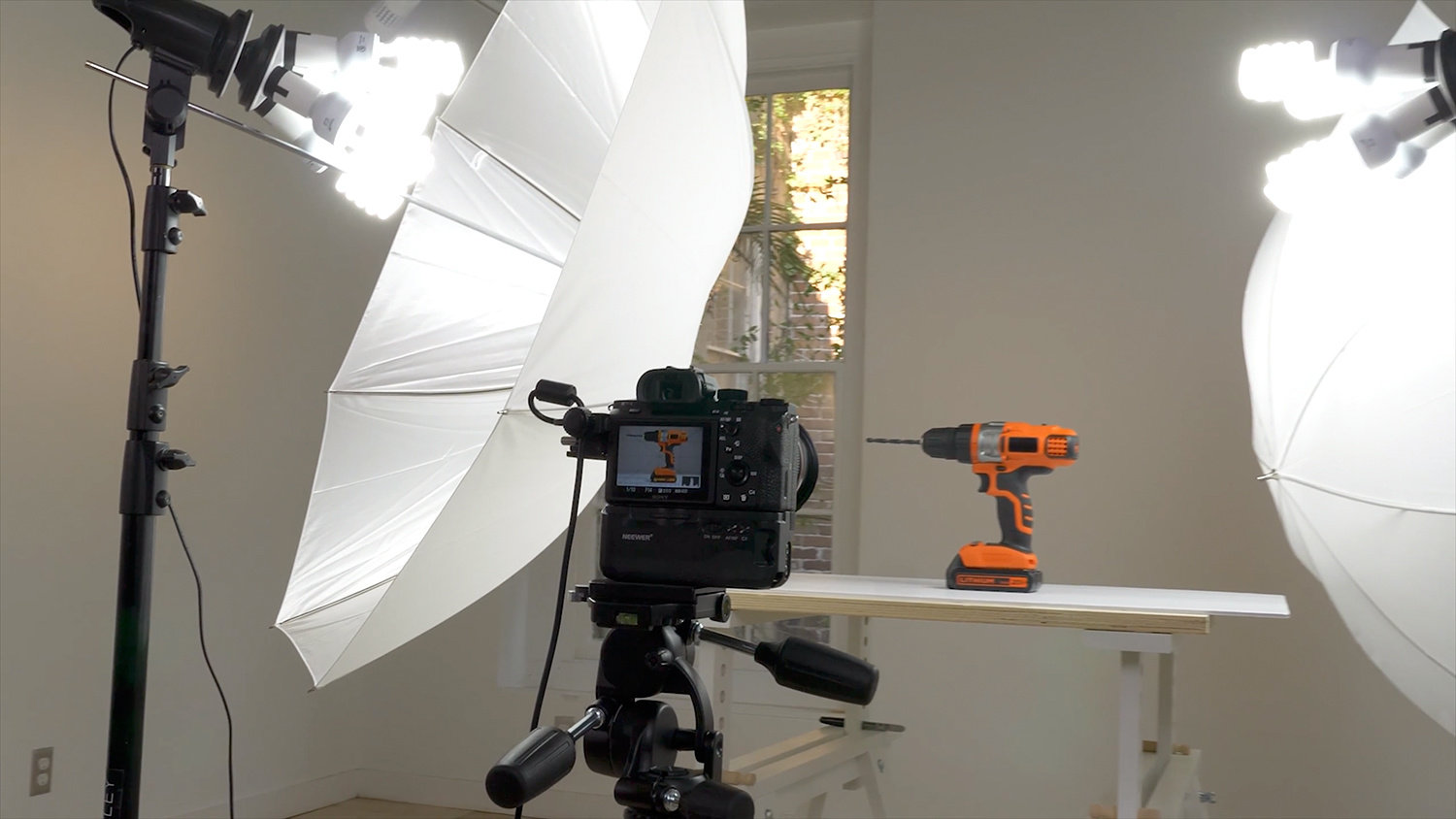 Brian Rodgers Jr., commercial product photographer, product photography, cordless drill, behind the scenes, continuous lighting