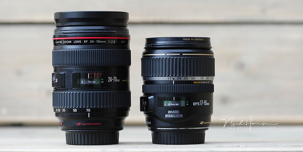 Two lenses; at the left the EF24-70mm and at right the EFs 17-85mm for crop. Although the minimum focal length of the EFs lens is shorter, is acts like a 27mm lens. These two lenses are basically the same, given that the EFs lens has a longer zoom range (