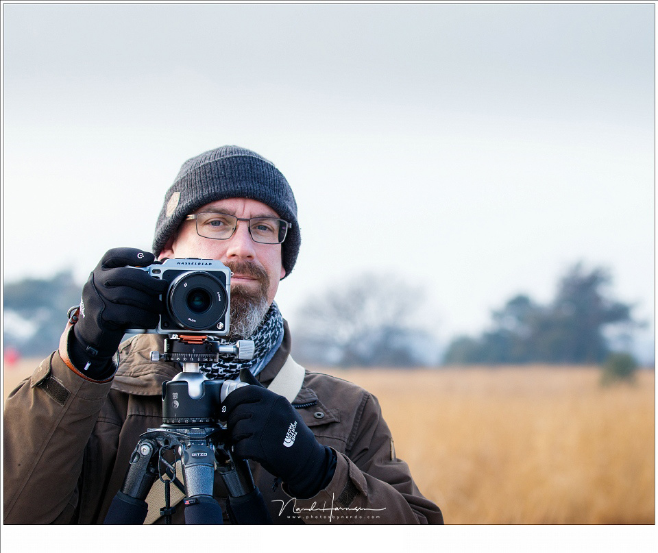 Me photographing with the Hasselblad X1D-50c. This large format sensor delivers an impressive amount of resolution and details, but it will be more difficult to get everything within the depth of field, even when using small apertures. (credit: photo by H