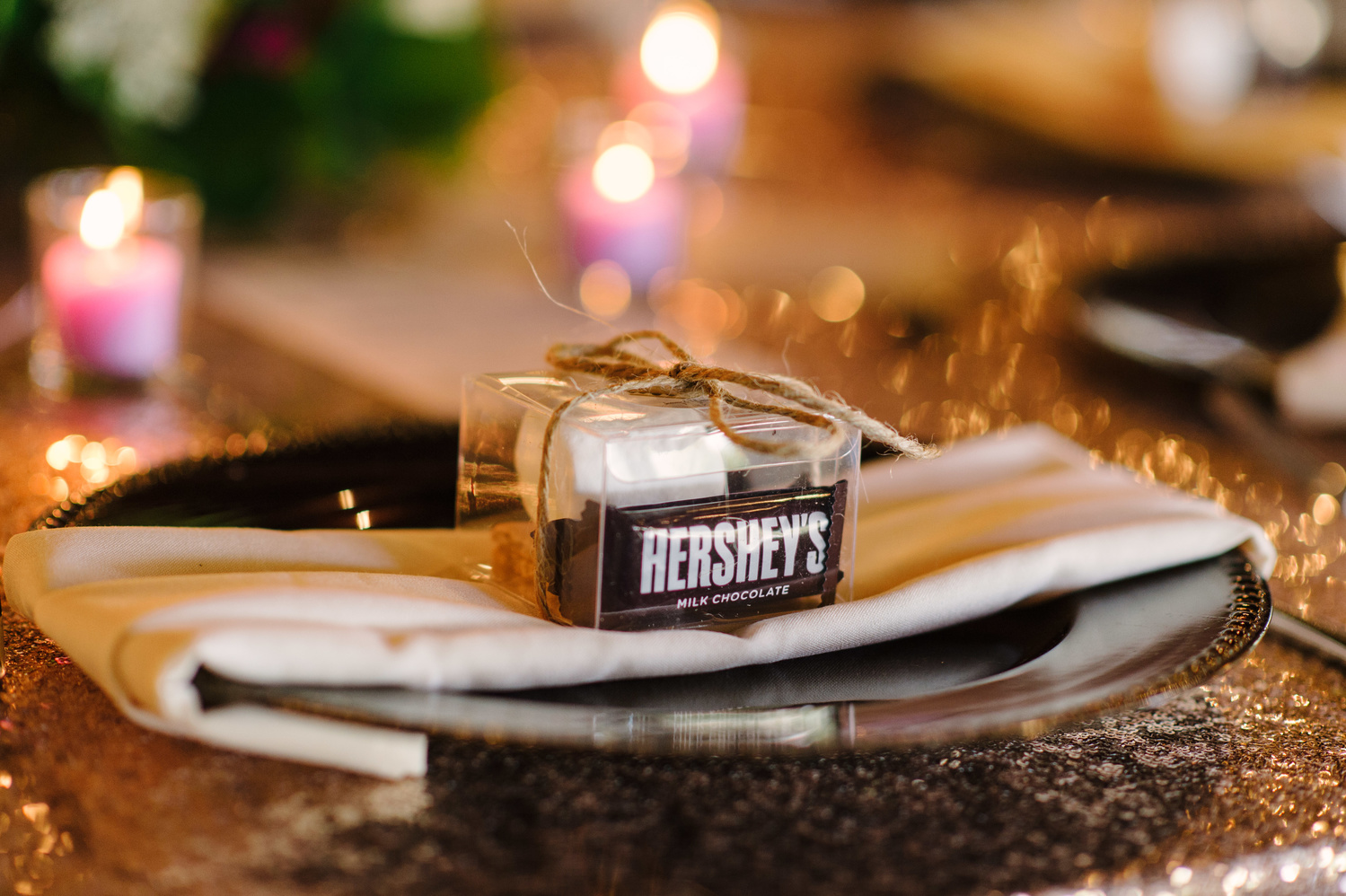 Wedding favors from a winter wedding with ingredients for s'mores