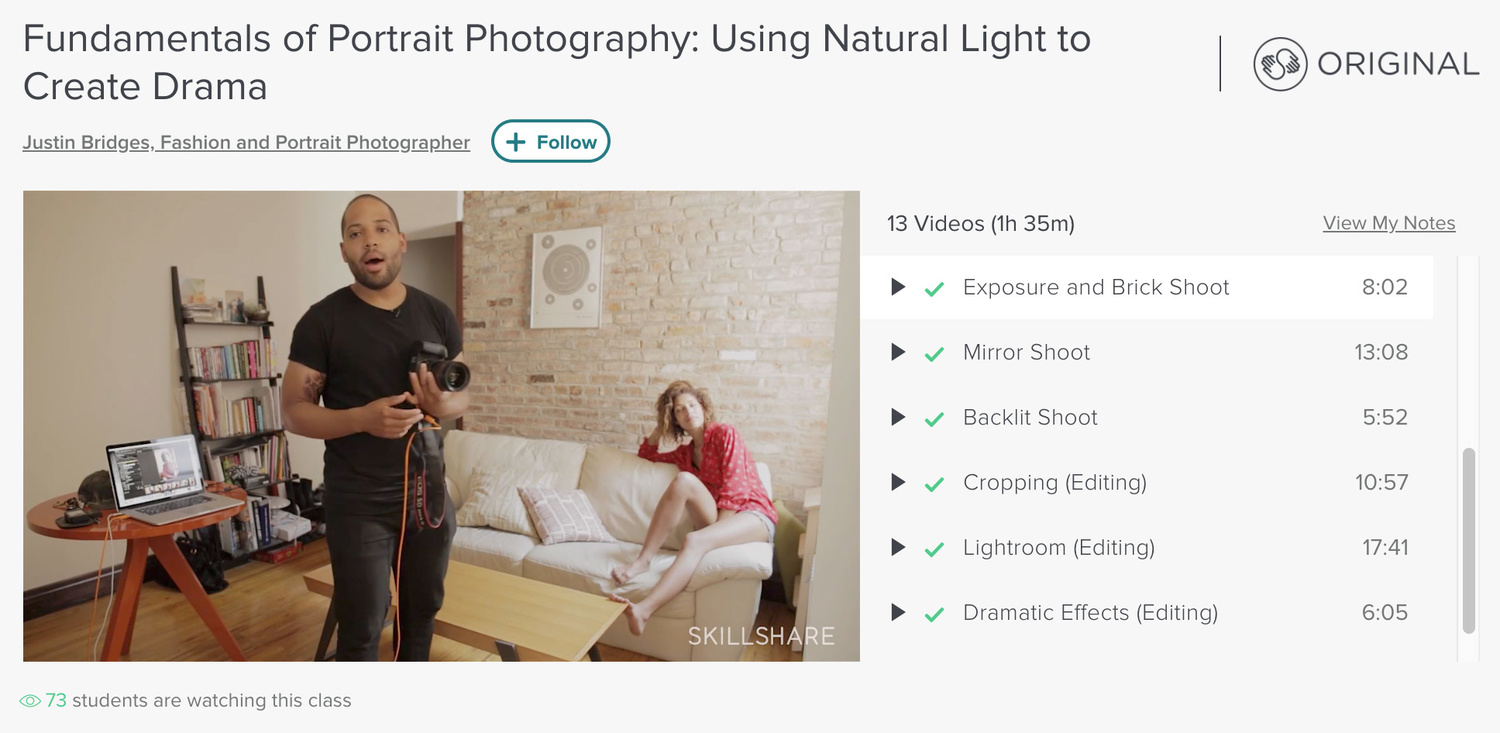 Justin Bridges creating drama with natural light Skillshare
