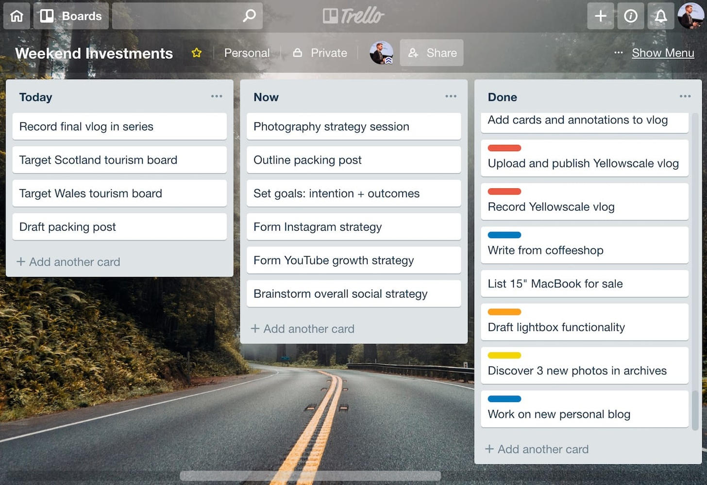 Trello is my go-to weapon in the fight against boredom.