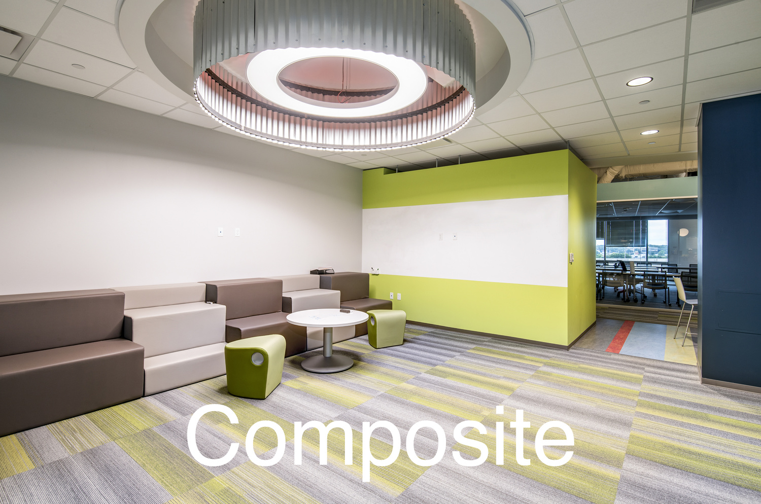 a composited interior photo of an office