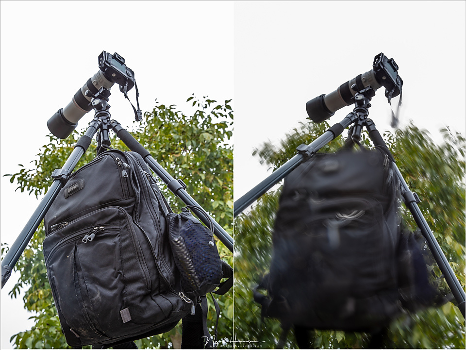 Use the hook to cary your bag. It seems to pull down the tripod for stability, but be careful it doesn't swing in the wind, or when you bump into it.