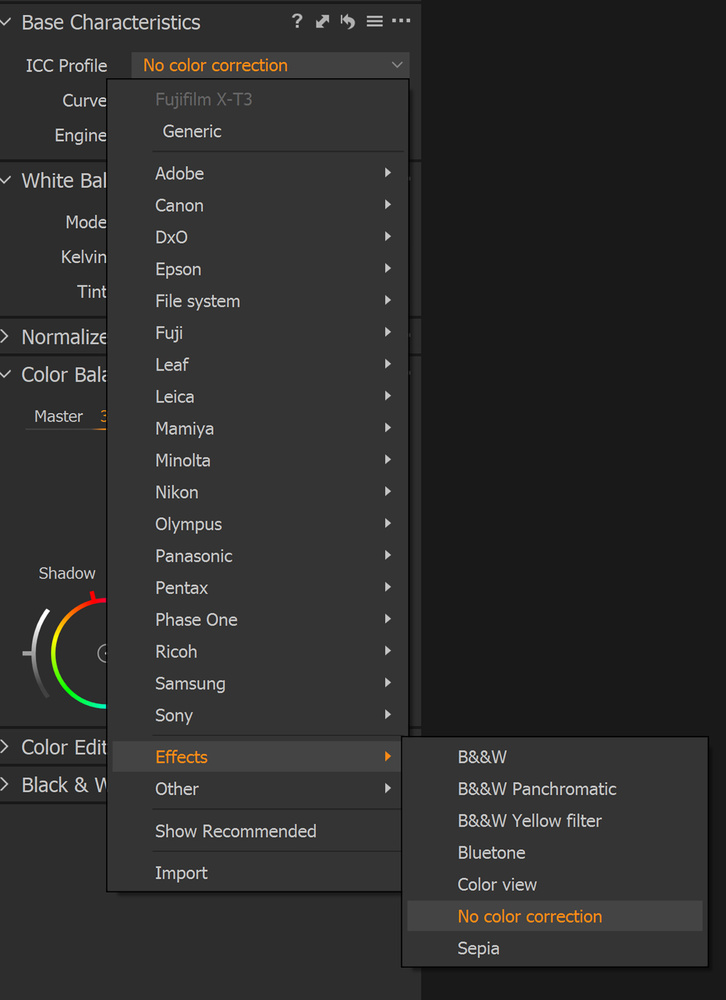 How to choose No Color Correction ICC Profile in Capture One