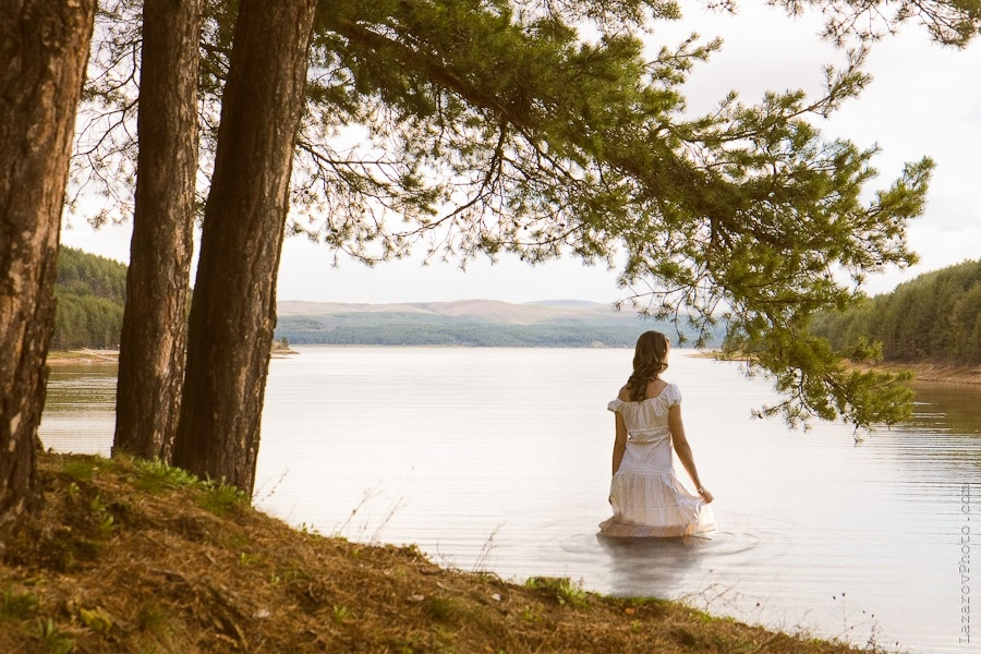 Girl in a lake
