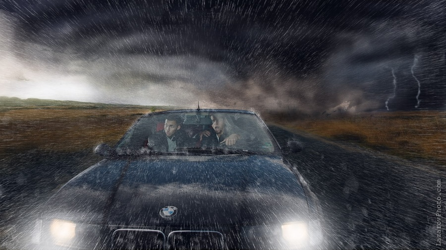 "Car chasing scene from my ""Tornado Dream"" series"