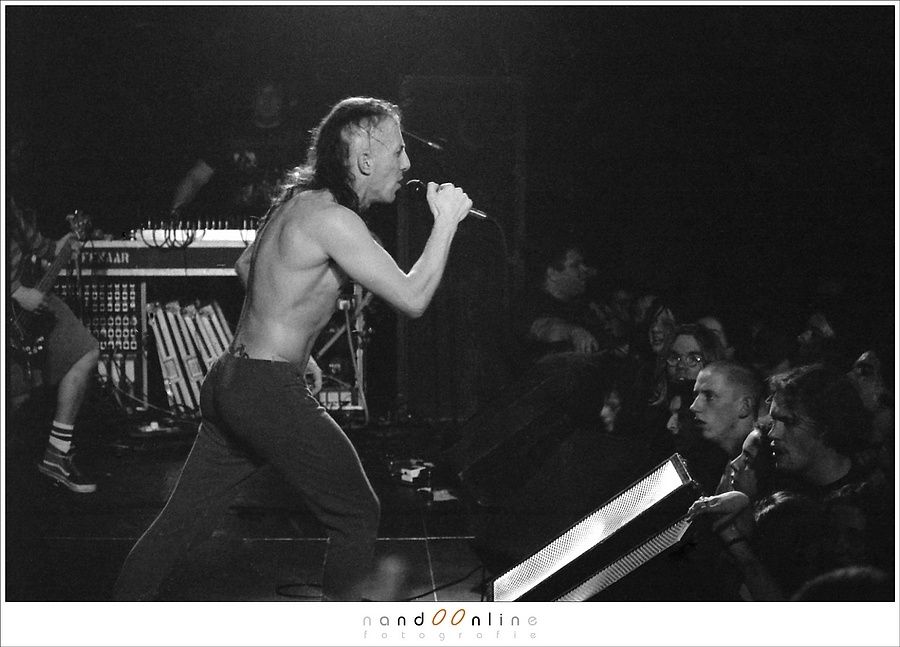 The band Tool, live in 1994 when digital photography was science fiction. Shot with a Minolta X500 and f/2.4 100mm lens on a pushed Ilford HP5 black and white film