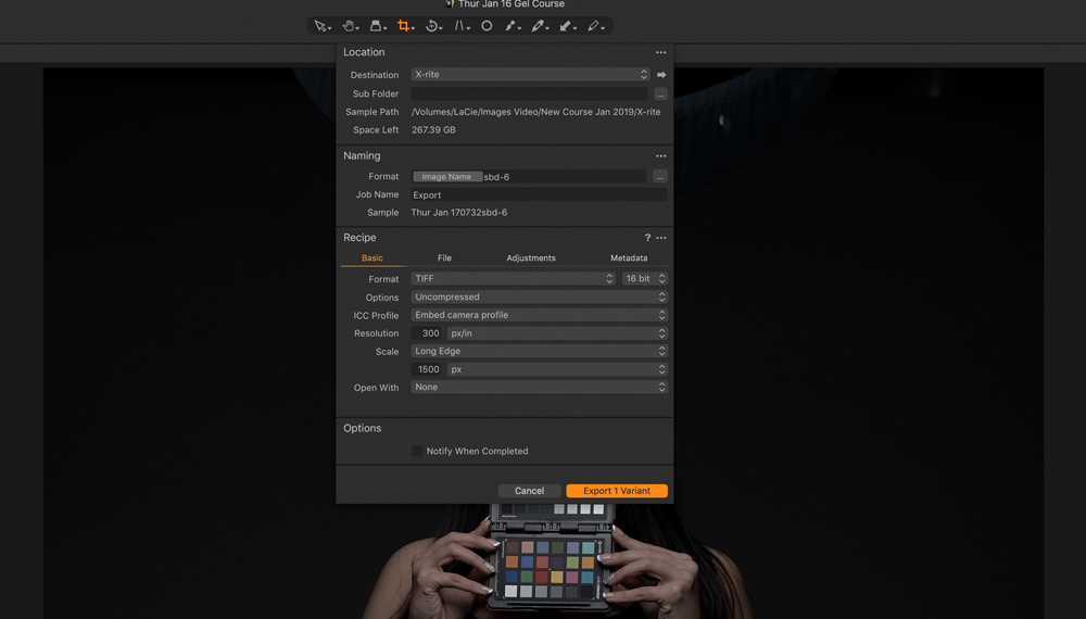 X-rite-color-checker-export-settings
