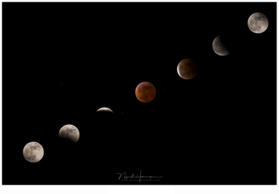 The eclipse of 2007. A sequence of six stages during the eclipse with the blood moon in the middle (Canon EOS 20D + EF70-200L @ 400mm with 2xTC | ISO800 | f/5,6 | with different exposure times)