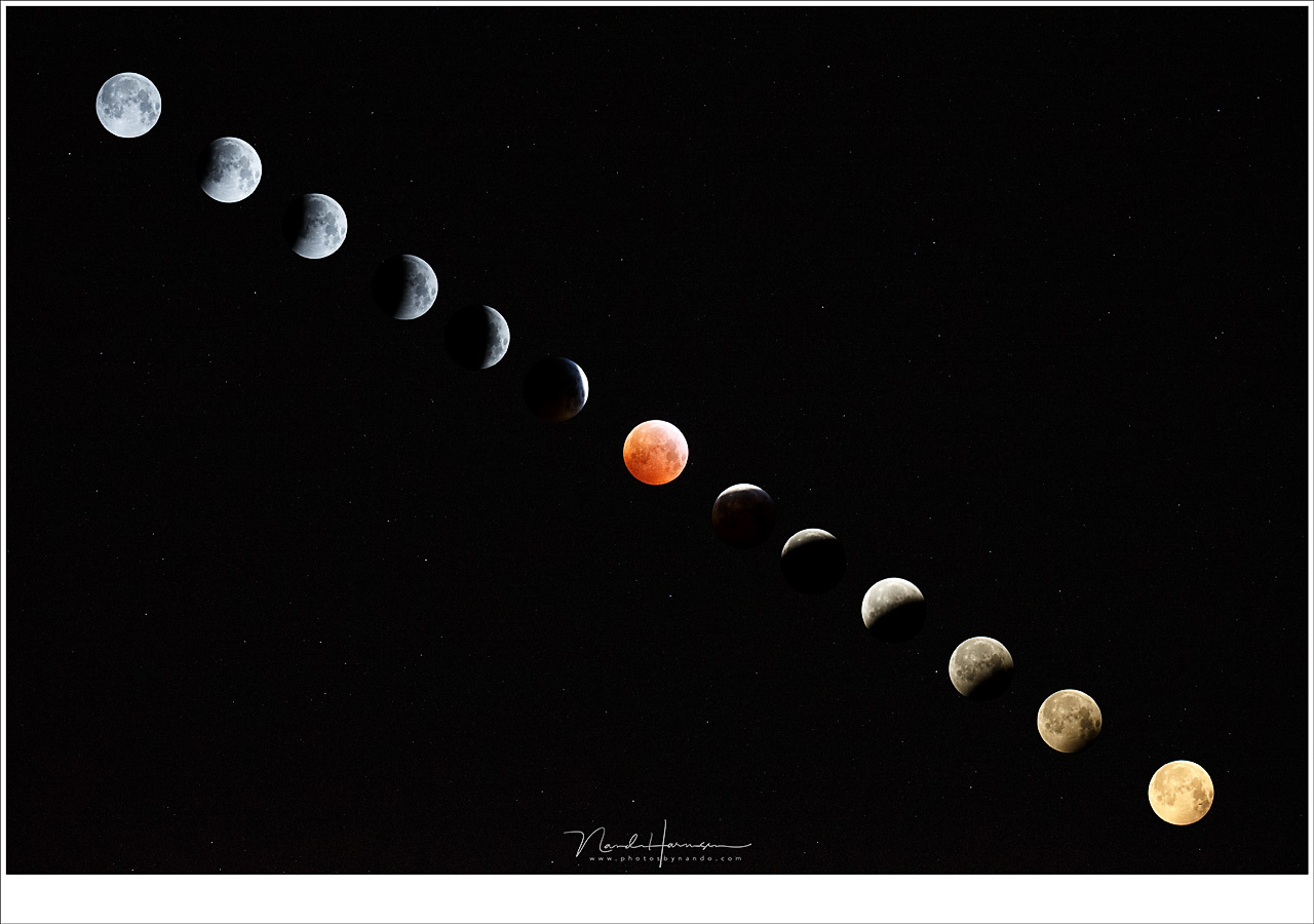 The eclipse of 2019 visible in this composite. Look at the color change of the Moon. From a normal full Moon into the reddish blood moon, towards the golden Moon at moonset. (Canon EOS 1Dx + EF100-400 @ 640mm with 1,4TC | different ISO settings and shutte