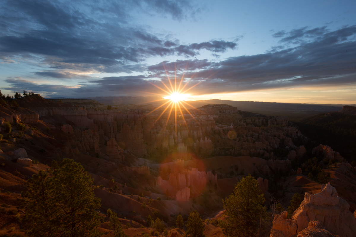Landscape photo with lens flare