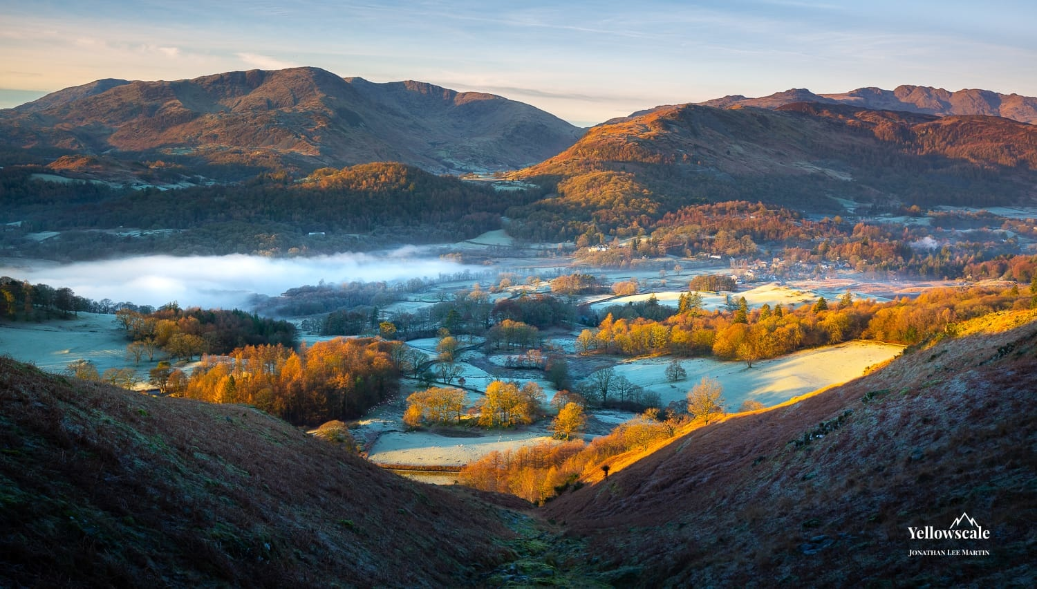 The town of Elterwater from Loughrigg Fell in the Lake District