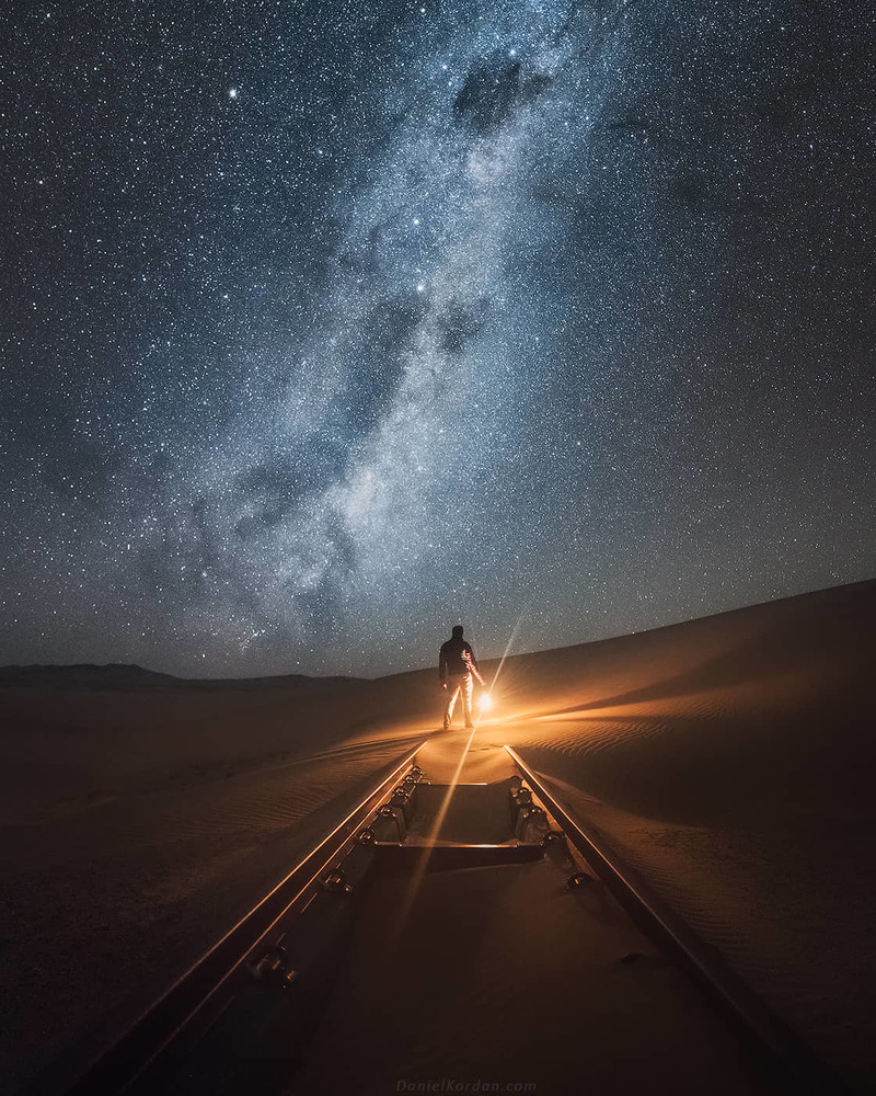 Abandoned railway and Milky Way in Kolmanskop