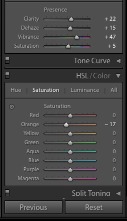 A screen capture of the HSL/Color panel in Lightroom.