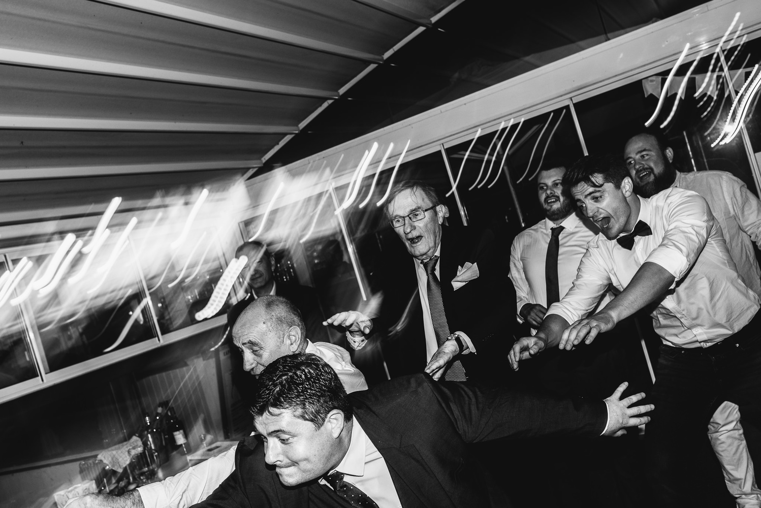 Groom's party on a dancefloor
