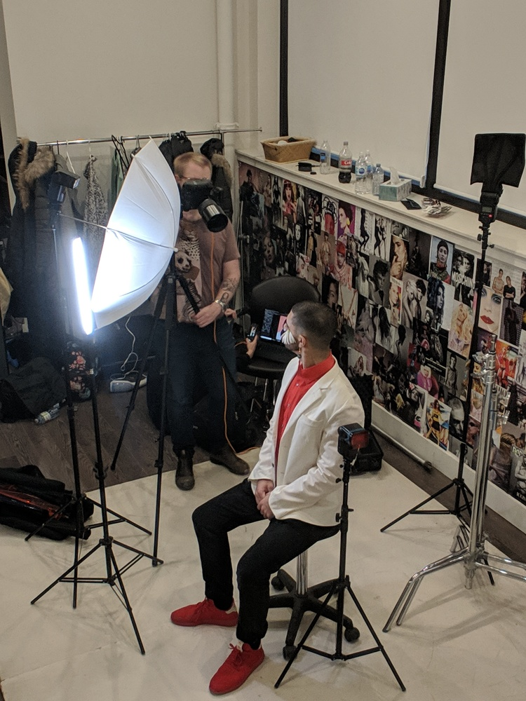 BTS shot of a male beauty editorial