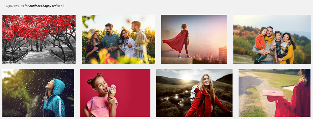 Stock library search results for happy outdoor red