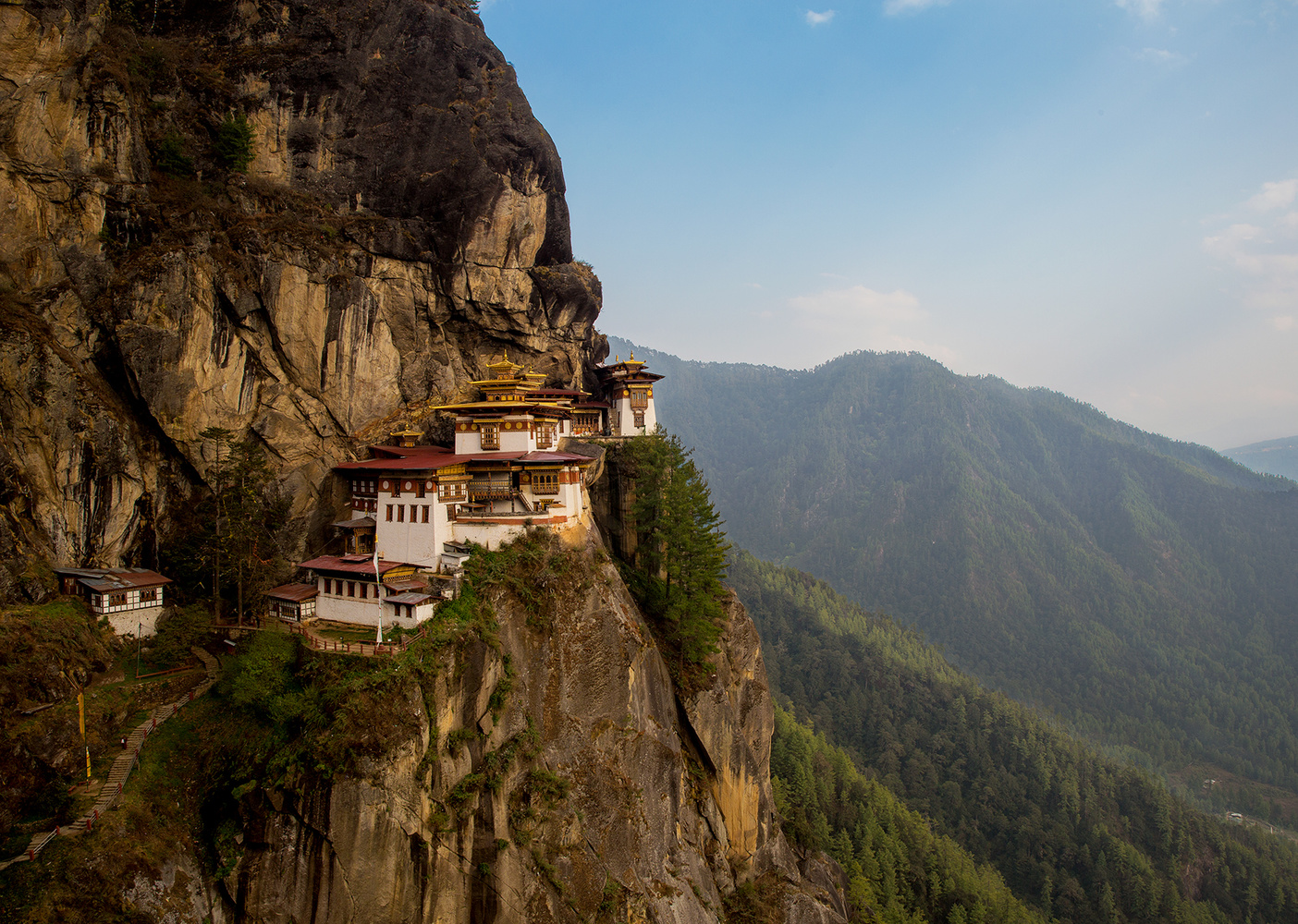 Monastery clinging to the edge of a cliff.